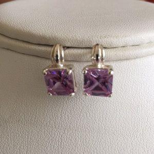Jewelry - Deep lavender sterling silver earrings